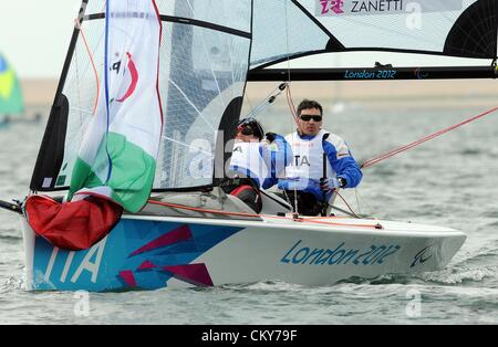 London 2012 Paralympics: Sailing Scud 18 class race Marco Gualandris and Marta Zanetti of Italy 01st September, - Stock Photo