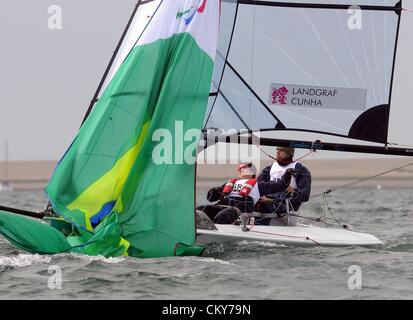London 2012 Paralympics: Sailing Scud 18 class race Bruno Landgraf and Elaine Cunha of Brazil 01st September, 2012 - Stock Photo