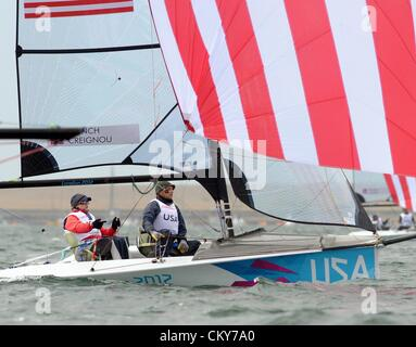 London 2012 Paralympics: Sailing Scud 18 class race Jen French and Jp Creignou of USA 01st September, 2012 PICTURE - Stock Photo