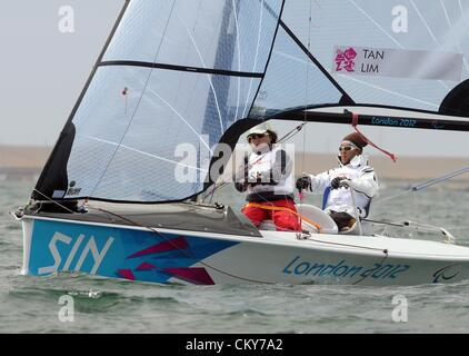 London 2012 Paralympics: Sailing Scud 18 class race Jovin Tan and Desiree Lim of Singapore 01st September, 2012 - Stock Photo