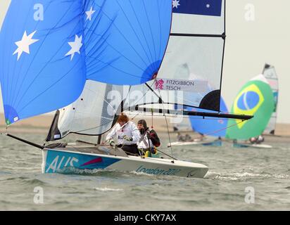 London 2012 Paralympics: Sailing Scud 18 class race Daniel Fitzgibbon and Liesl Tesch of Australia 01st September, - Stock Photo