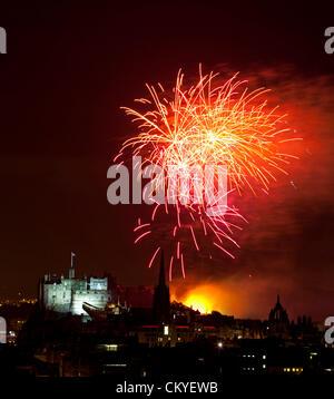 Edinburgh, UK. 2nd September, 2012. Edinburgh International Festival Fireworks Concert 2012, the annual fireworks - Stock Photo