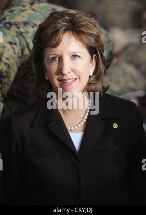Feb 27, 2009 - Camp Lejeune, North Carolina, USA - United States Senator KAY HAGAN (D-NC) speaks with the media - Stock Photo