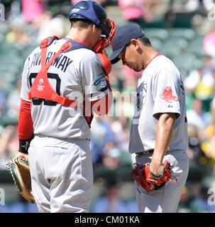 (L-R) Ryan Lavarnway, Daisuke Matsuzaka (Red Sox), SEPTEMBER 2, 2012 - MLB : Catcher Ryan Lavarnway of the Boston - Stock Photo