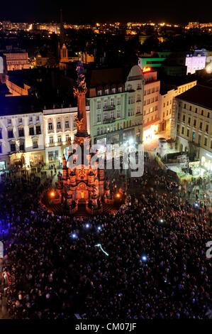 3rd Year of Festival of Light opened in Olomouc, Czech Republic on September 6, 2012. Horni namesti (Upper Sqauere) - Stock Photo