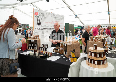The Rose & Crown stall presents their produce to visitors at the Ludlow Food Festival, Ludlow UK, September 8th - Stock Photo