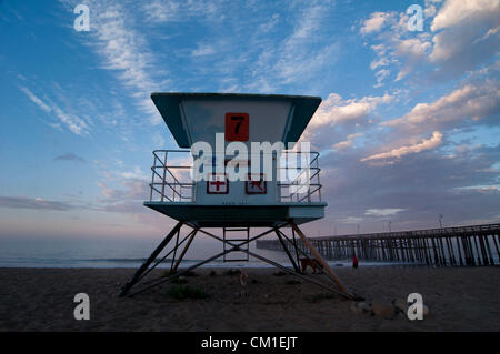 Aug. 29, 2012 - Ventura, Ca, USA - August 28, 2012 Ventura, Ca. USA. A lifegaurd tower on the beach near the Ventura - Stock Photo