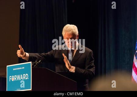 Orlando, Florida, USA-Sept 12, 2012-US President Bill Clinton defends Obama health care policy, talks up Orlando's - Stock Photo