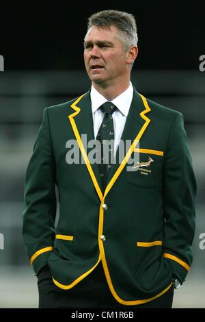 DUNEDIN, NEW ZEALAND - SEPTEMBER 14: Coach Heyneke Meyer looks on during the South African Springboks captain's - Stock Photo