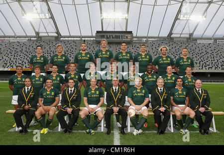 DUNEDIN, NEW ZEALAND - SEPTEMBER 14: South Africa pose for a team photo during the South African Springboks captain's - Stock Photo
