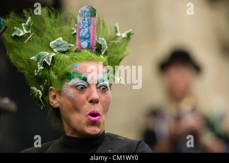 Portmeirion, Wales, UK.Saturday 15th Sept 2012 A person with an elaborate hair make-over based on one of the locations - Stock Photo