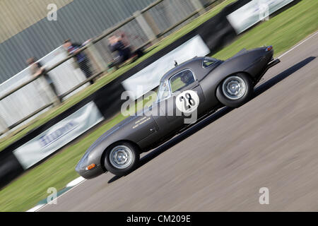 Goodwood Estate, Chichester, UK. 15th September 2012. 1961 Jaguar E-type pictured during the RAC TT Celebration. - Stock Photo