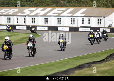Goodwood Estate, Chichester, UK. 15th September 2012. Riders pictured during the Barry Sheene Memorial. The revival - Stock Photo