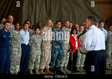 US Secretary of Defense Leon Panetta speaks to service members at Yakota Air Base September 17, 2012 in Tokyo, Japan - Stock Photo