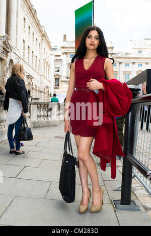 18th September 2012. Somerset House, London, UK. The last day of London Fashion Week attracted a number of attractive - Stock Photo