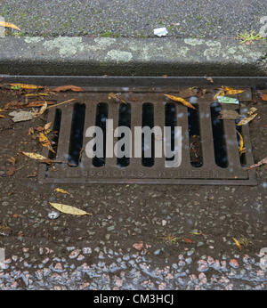 Tamworth, UK. 26th September 2012. Water coming up through a roadside drain after a heavy storm. - Stock Photo