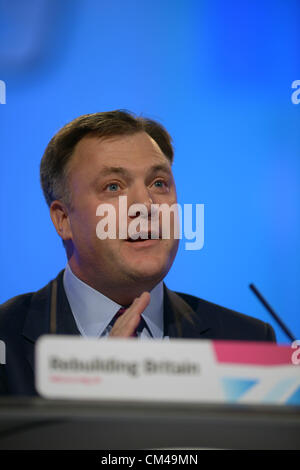 Shadown Chancellor Ed Balls addresses Labour Party Conference in Manchester, UK,  Monday 01 October.  PLEASE CREDIT - Stock Photo