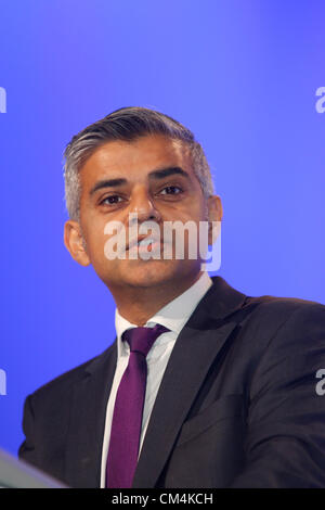 SADIQ KHAN MP SHADOW LORD CHANCELLOR AND SEC 03 October 2012 MANCHESTER CENTRAL MANCHESTER  ENGLAND - Stock Photo
