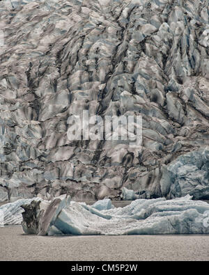 July 5, 2012 - Borough Of Juneau, Alaska, US - A close-up of the face of Mendenhall Glacier with an iceberg calved - Stock Photo