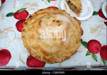 Close-up of a freshly baked homemade apple pie on a table - Stock Photo