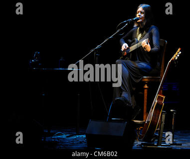 Brazilian singer and songwriter Joyce Moreno performs during music festival Strings of autumn in Prague, Czech Republic, - Stock Photo