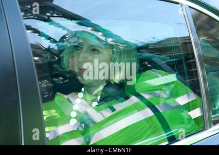 17th October 2012. Westminster London UK.   Theresa May leaves the House of Commons after Prime Minister's Questions. - Stock Photo