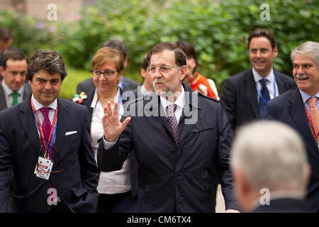 Brussels, Belgium. 18th October 2012. Mariano Rajoy Brey, Prime Minister of Spain arriving at the European Council - Stock Photo