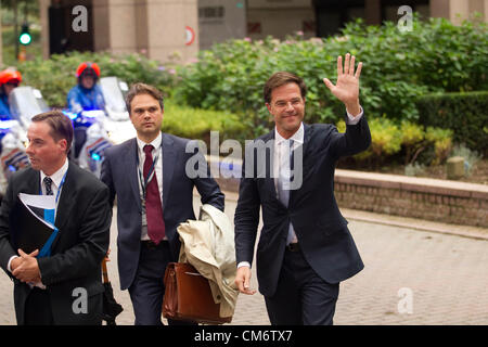 Brussels, Belgium. 18th October 2012. Mark Rutte, Prime Minister of Netherlands arriving at the European Council - Stock Photo