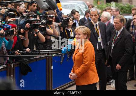 Brussels, Belgium. 18th October 2012. Angela Merkel Federal Chancellor of Germany arriving at the European Council - Stock Photo