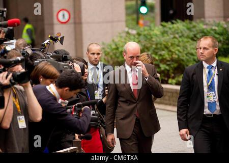 Brussels, Belgium. 18th October 2012. Fredrik Reinfeldt, Prime Minister of Sweden arriving at the European Council - Stock Photo