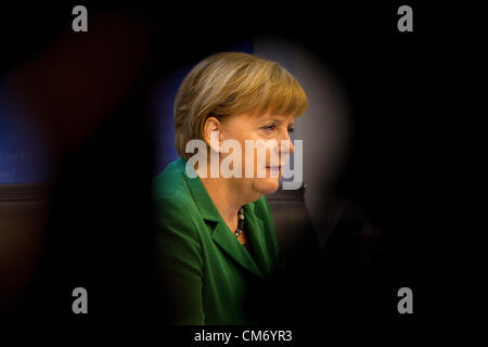 Angela Merkel, Federal Chancellor of Germany gives a press briefing on Friday  lunchtime at the European Council meeting in Brussels, Justus Lipsius Building. Photo:Jeff Gilbert. 19.10.2012. Brussels, Belgium.