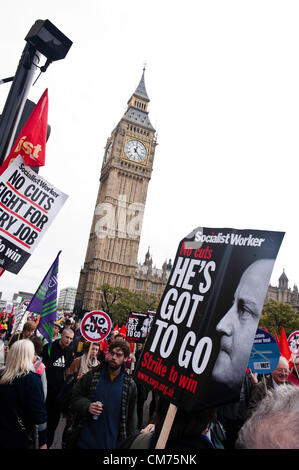 London, UK - 20 October 2012: a sign reads 'He's got to Go' during the TUC-organised march 'A future that works' - Stock Photo