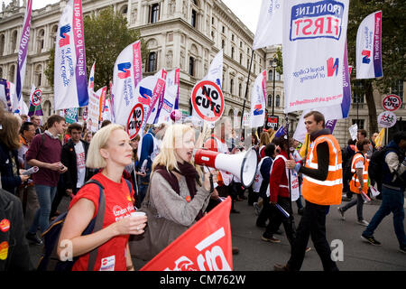 London, UK. 20th October 2012. Marchers and protestors in Whitehall pass the end of Downing Street on the TUC 'A - Stock Photo