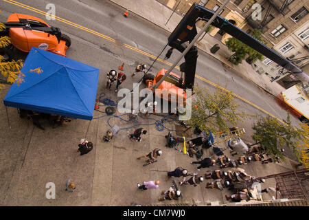 New York, USA. October 23rd 2012. O Positive Films. Aerial View of the on location set of a movie The film crew - Stock Photo