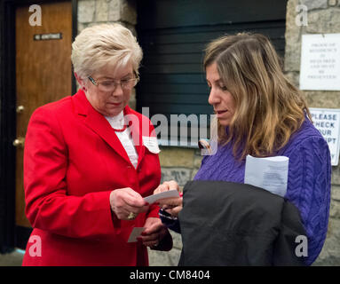 Oct. 23, 2012 - Merrick, New York, U.S. - Congresswoman CAROLYN MCCARTHY (D), in red suit, spoke at the 4th Annual - Stock Photo