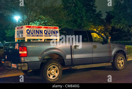 Oct. 23, 2012 - Merrick, New York, U.S. - 4X4 Truck with large campaign signs - for candidate Judge Christopher - Stock Photo