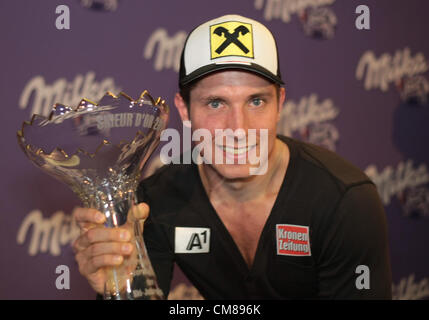 26.10.2012. Soelden, Austria. Marcel HIRSCHER (AUT) receives the skieur d'or trophy 2012 before the FIS Alpine Ski - Stock Photo