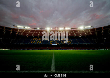 23.10.2012 Barcelona, Spain. A panoramic view of the Nou Camp stadium during the Champions League game between Barcelona - Stock Photo