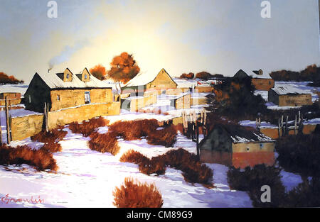 Oct. 26, 2012 - Albuquerque, NM, U.S. - Snow scene called ''Ask'' by New Mexico artist   B.C. Nowlin. Friday, Oct. - Stock Photo