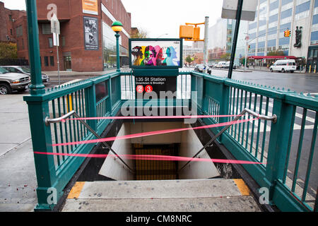 New York City, New York, USA. 29th October, 2012. The subway system has been shut down as hurricane Sandy hits New - Stock Photo