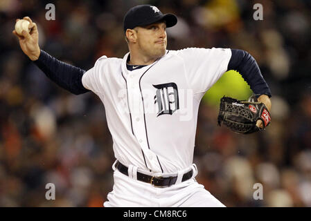 28.10.2012. Detroit, Michigan, USA. Detroit Tigers starting pitcher Max Scherzer delivers against the San Francisco - Stock Photo