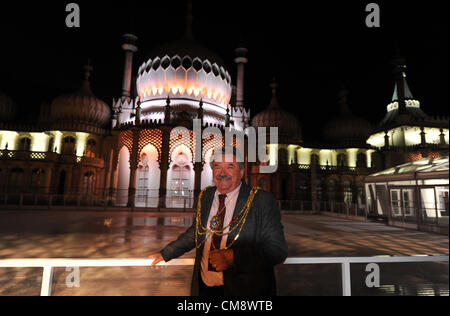 Brighton UK 30 October 2012 -The Royal Pavilion in Brighton is lit up tonight by a new set of LED lights which is - Stock Photo