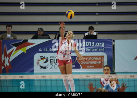 Sopot, Poland 30th, October 2012 . 2013 CEV Volleyball Champions League game is Sopot. Anna Velikiy (5) in action - Stock Photo