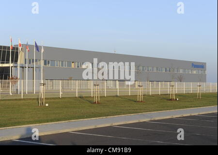 Panasonic company ends with the production in the Triangle industrial zone near Zatec. Panasonic company confirmed - Stock Photo