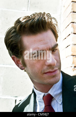 June 27, 2012, New York City USA; Andrew Garfield American-English film theater & TV actor arrives for guest appearance - Stock Photo