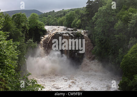 High Force Waterfall, River Tees, Teesdale, UK. 28 June, 2012. High Force Waterfall on the River Tees After Thunderstorms - Stock Photo
