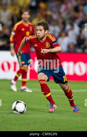 Jordi Alba (ESP),  JUNE 27, 2012 - Football / Soccer :  UEFA Euro 2012 Semi-final match between Portugal 0(2-4)0 - Stock Photo