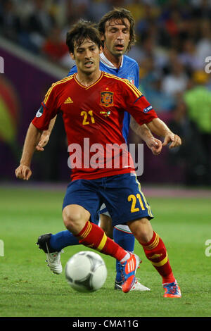 01.07.2012 Kiev, Ukraine. UEFA EURO 2012 final match Spain vs. Italy at the Olympic Stadium in Kiev, Ukraine, 01 - Stock Photo