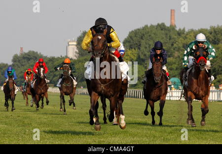 BUDAPEST - JÚLIUS 1. 90th Hungarian Derby. Latin Lover and winning Jockey Charles Kerekes. julius 1, 2012 in Hungary, - Stock Photo