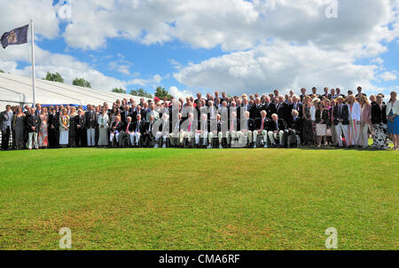 Photocall of passed British rowing Olympians  in the Stewards Enclosure at  Henley Royal Regatta  Sunday July1 2012 - Stock Photo
